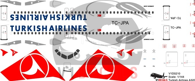 Turkish Airlines Airbus A320 Decal