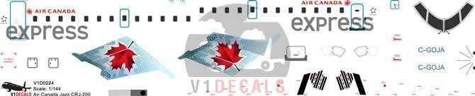 Air Canada Express, Air Canada Jazz --Bombardier CRJ 100/200 Decal