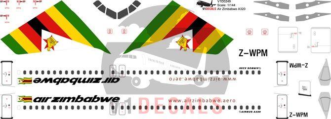 Air Zimbabwe Airbus A320 Decal