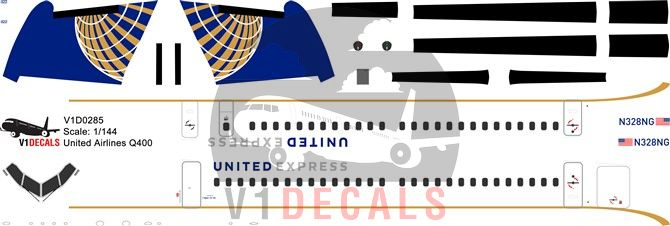 United Airlines Bombardier Dash 8-Q400 Decal