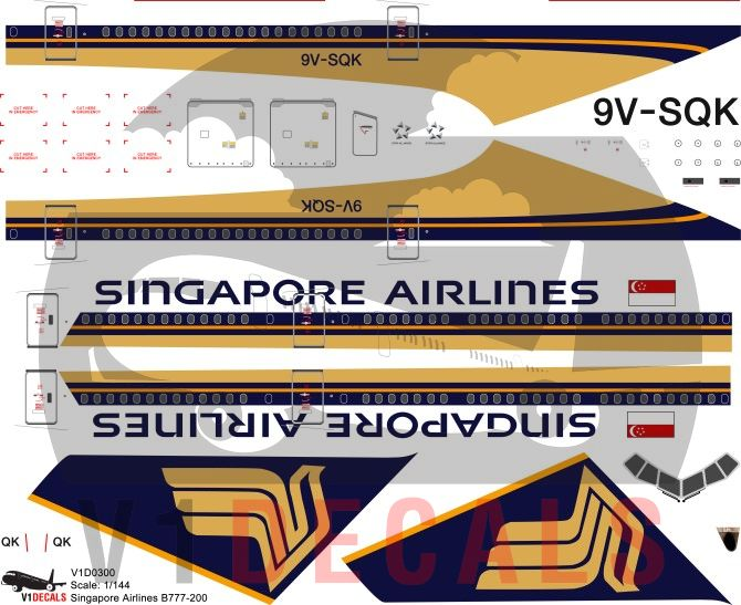 Singapore Airlines -Boeing 777-200 Decal