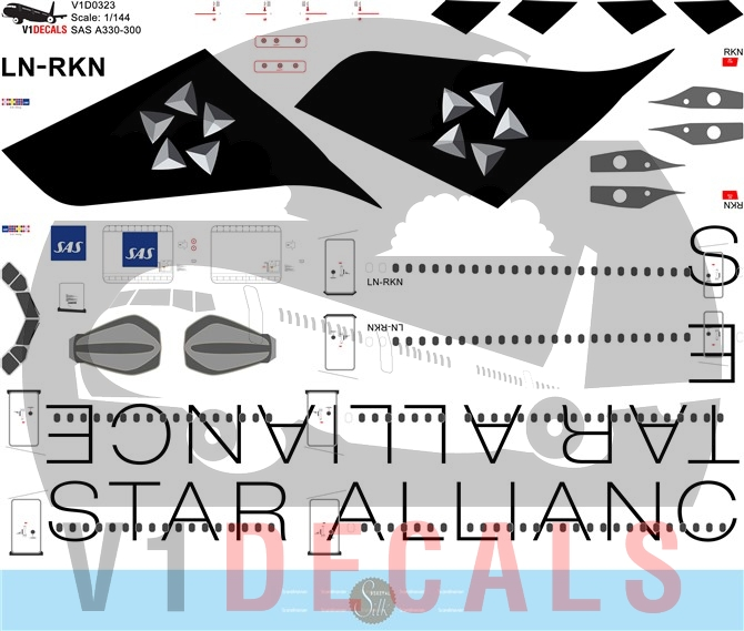 SAS Scandinavian Airlines, Star Alliance Various Airlines -Airbus A330-300 Decal
