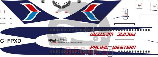 Pacific Western Airlines PWA Boeing 727-100 Decal