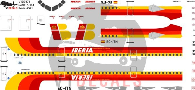 Iberia Airbus A321 Decal
