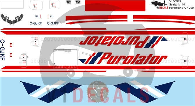 Purolator -Boeing 727-200 Decal