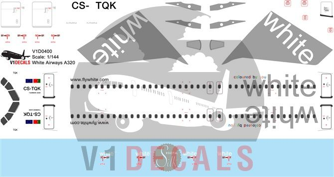 White Airways Airbus A320 Decal