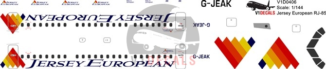Jersey European -BAe Avro RJ-85 Decal