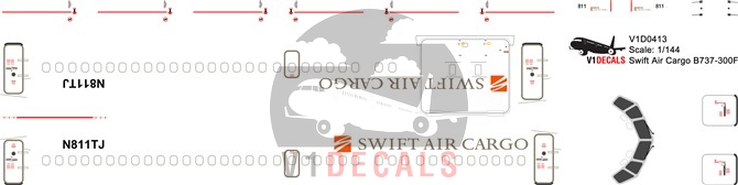 Swift Air Cargo -Boeing 737-300 Decal