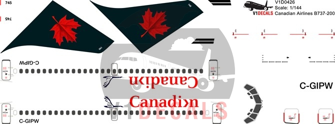 Canadian Airlines, Air Canada -Boeing 737-200 Decal