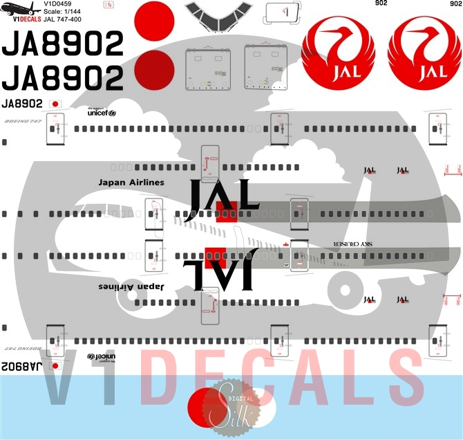 Japan Airlines JAL -Boeing 747-400 Decal