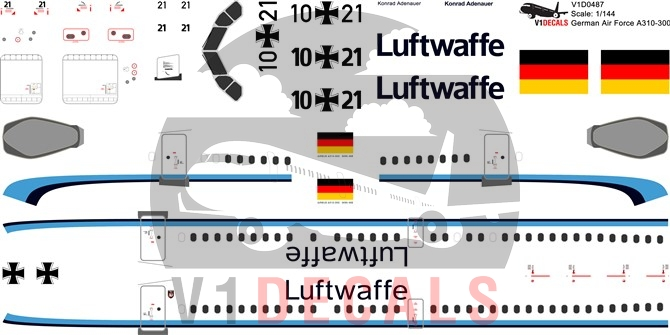 German Air Force Luftwaffe -Airbus A310-300 Decal