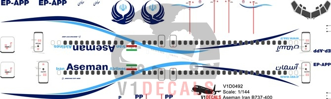 Aseman Iran Airlines -Boeing 737-400 Decal