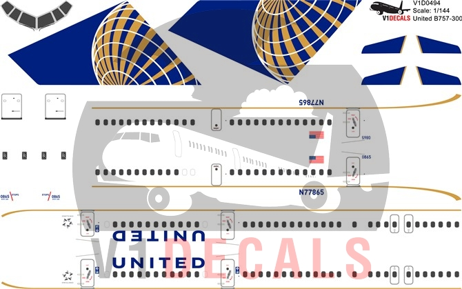 United Airlines -Boeing 757-300 Decal
