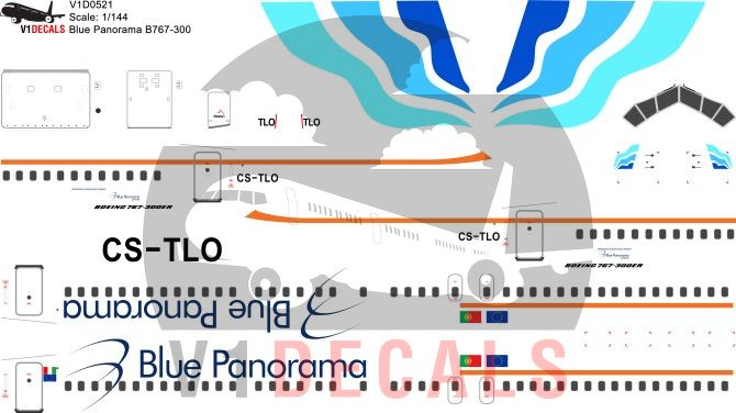 Blue Panorama, EuroAtlantic Airways -Boeing 767-300 Decal