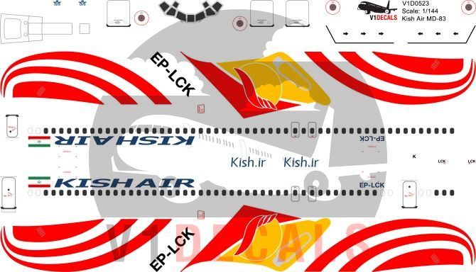 Kish Air McDonnell Douglas MD-80 Decal