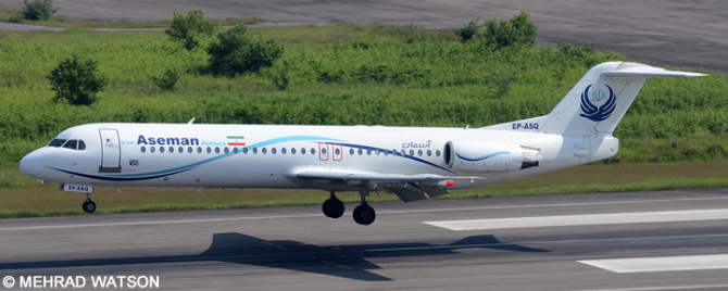 Aseman Iran Airlines Fokker F-100 Decal