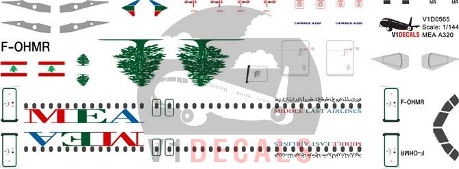 MEA Middle East Airlines Airbus A320 Decal