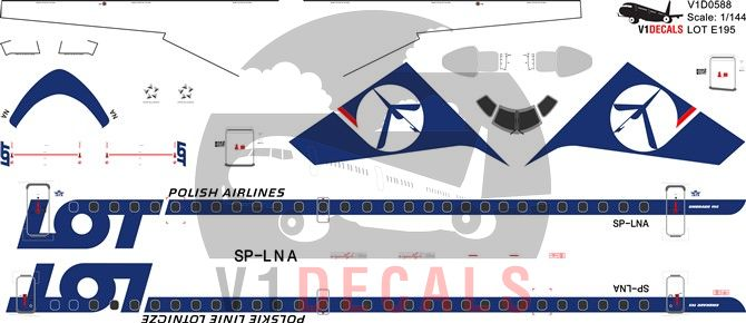 LOT Polish Airlines Embraer E195 Decal