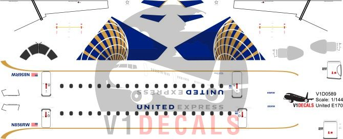 United Airlines -Embraer E170 Decal