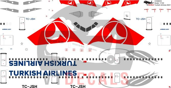 Turkish Airlines Airbus A321 Decal