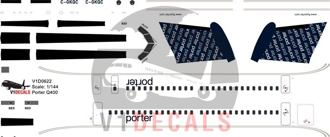 Porter Airlines Bombardier Dash 8-Q400 Decal
