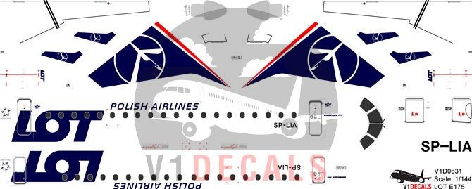 LOT Polish Airlines Embraer E175 Decal