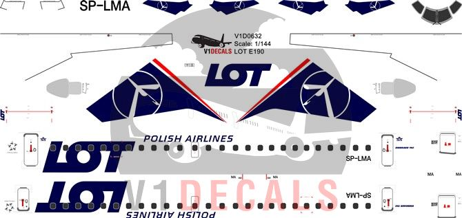 LOT Polish Airlines Embraer E190 Decal