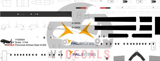 PAL Provincial Airlines DeHavilland Dash 8-300 Decal