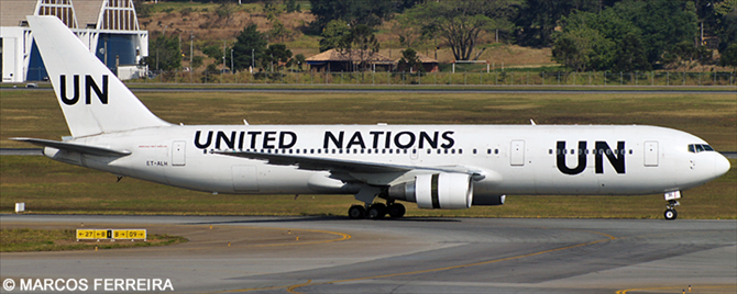United Nations UN, Ethiopian Airlines Boeing 767-300 Decal