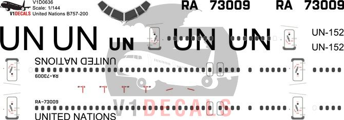 United Nations UN, VIM Airlines Boeing 757-200 Decal