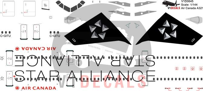 Air Canada, Star Alliance Various Airlines Airbus A321 Decal