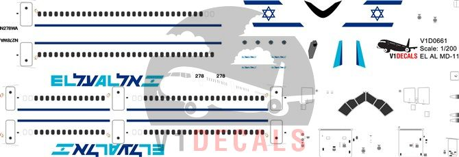 EL AL Israel Airlines, World Airways McDonnell Douglas MD-11 Decal