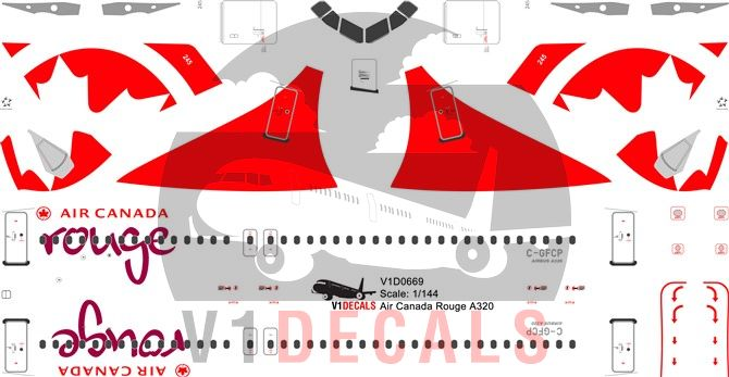 Air Canada Rouge Airbus A320 Decal