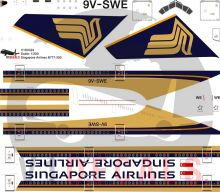 Singapore Airlines -Boeing 777-300 Decal